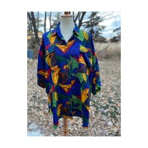 Vintage 80s Oversized Abstract Top Blouse